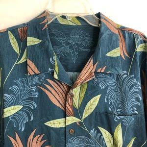 Tommy Bahama Blue Floral Hawaiian Shirt XL Camp